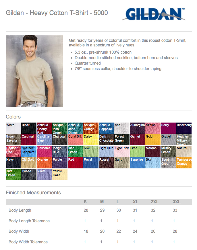 T Shirt Color Chart